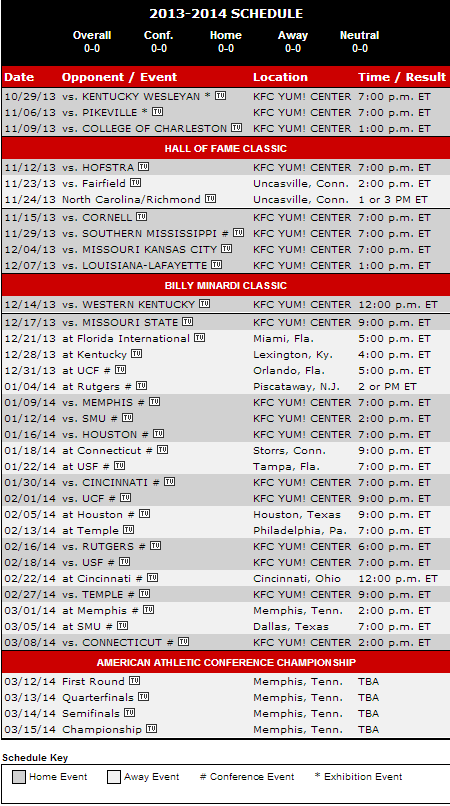 Louisville Releases 2013 2014 Basketball Schedule The Crunch Zone