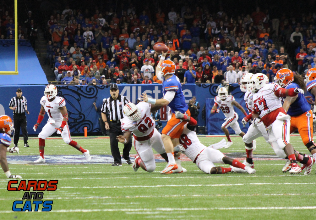 Cardinal Defensive Line Louisville vs. Florida 2013 Sugar Bowl Photo by Mike Lindsay