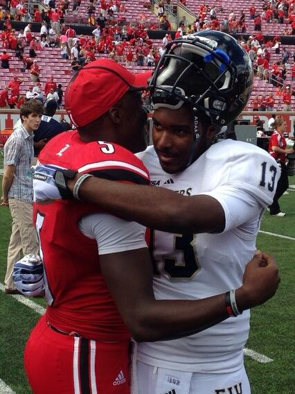 EJ Hillard, Teddy Bridgewater, High School Teammates and Co-Founders of G.U.M.P embraced after the game Photo by Chris Hatfield Louisville vs. FIU 2013