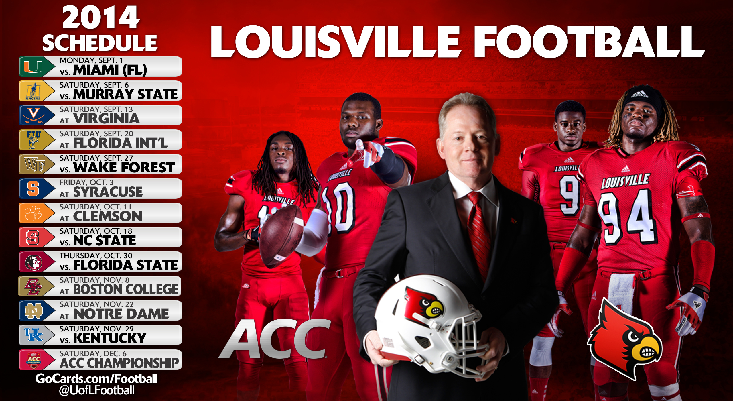 Louisville Releases 2014-15 Football Schedule- Year 1 of ...