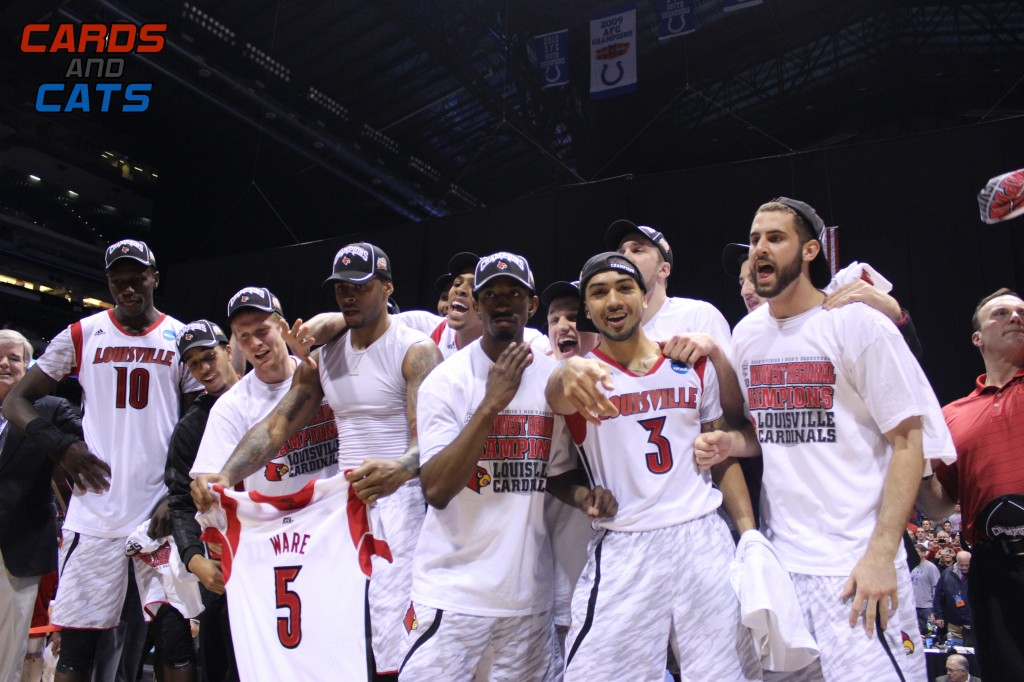 Gorgui Dieng, Jordan Bond, Tim Henderson, Chane Behanan, Kevin Ware Jersey, Russ Smith, Peyton Siva, Wayne Blackshear, Luke Hancock Celebrate a Regional Final win over Duke in 2013 Elite 8 NCAA Tournament Indianapolis, IN Lucas Oil Stadium Photo by Mark Blankenbaker