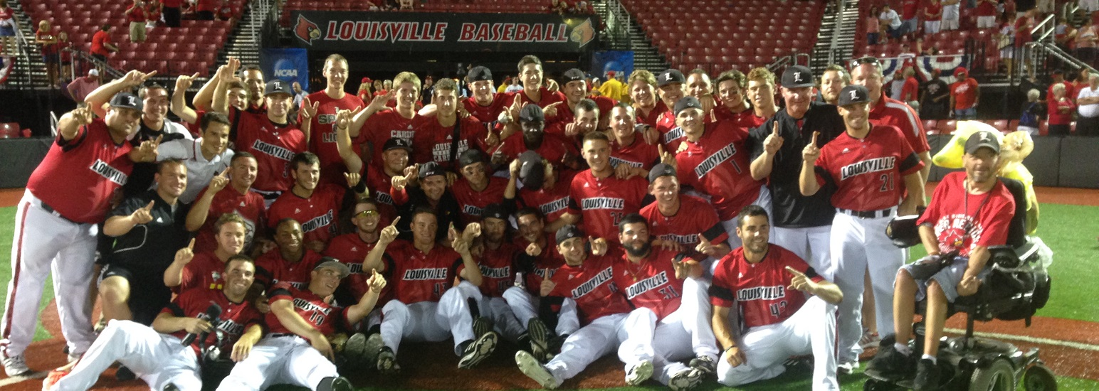 Louisville Baseball Super Regional Celebration after beating Kennesaw State in the 2014 NCAA Baseball Tournament to Clinch Spot in College World Series Photo by Mark Blankenbaker Fitted
