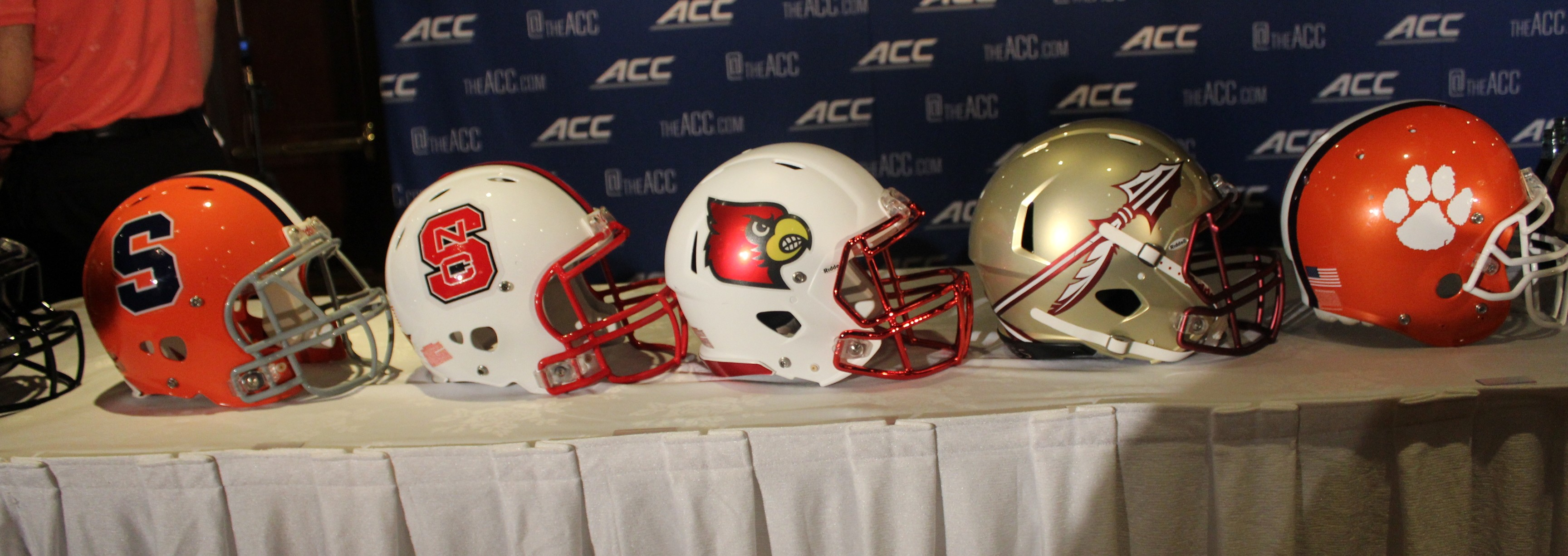 2014 ACC Kickoff Atlantic Division Helmets Fitted Photo by Mark Blankenbaker