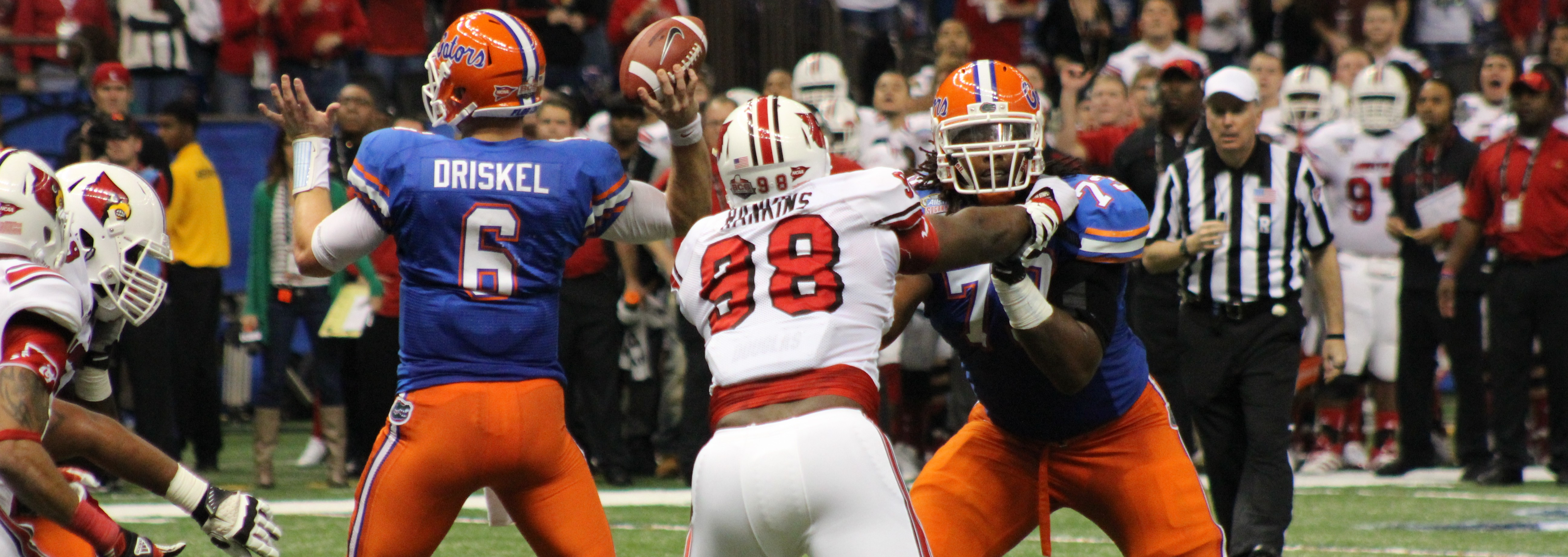 Sheldon Rankins Louisville vs. Florida 2013 Sugar Bowl. Photo by Mike Lindsay