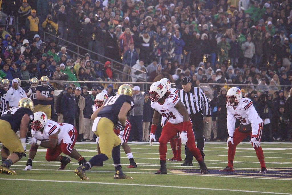 Lorenzo Mauldin, DeAngelo Brown and James Burgess Louisville vs. Notre Dame 11-22-2014 Photo by Mike Lindsay