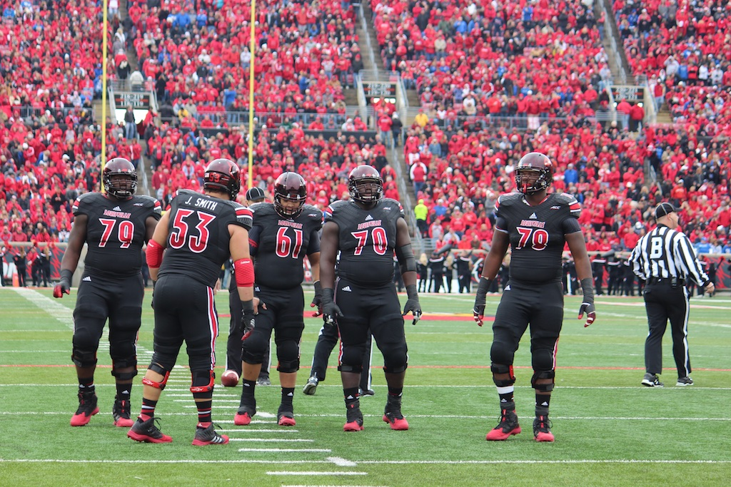 Louisville Offensive Line, Jamon Brown, Jake Smith, Tobijah Hughley, John Miller, and Aaron Epps Louisville vs. Kentucky 11-29-2014 2014 Governor's Cup Photo by Mike Lindsay