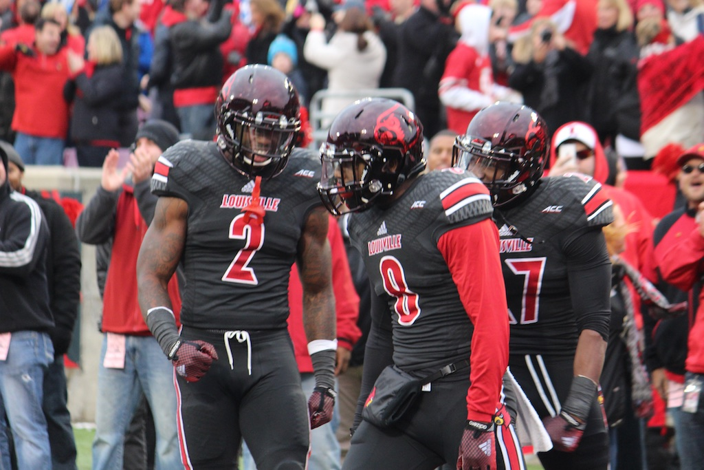 Gerod Holliman Interception Record Single Season with James Sample & Jermaine Reve Louisville vs. Kentucky 11-29-2014 2014 Governor's Cup Photo by Mike Lindsay