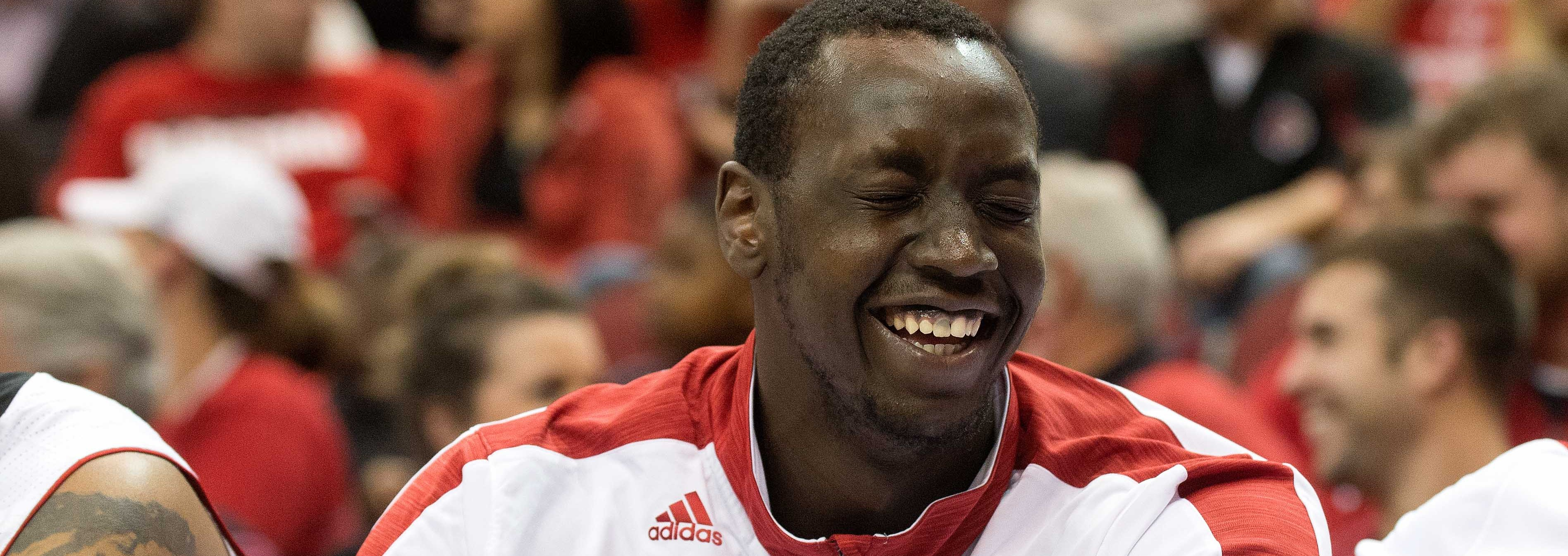 Akoy Agau Laughing vs. Savannah State Fitted Photo by Adam Creech