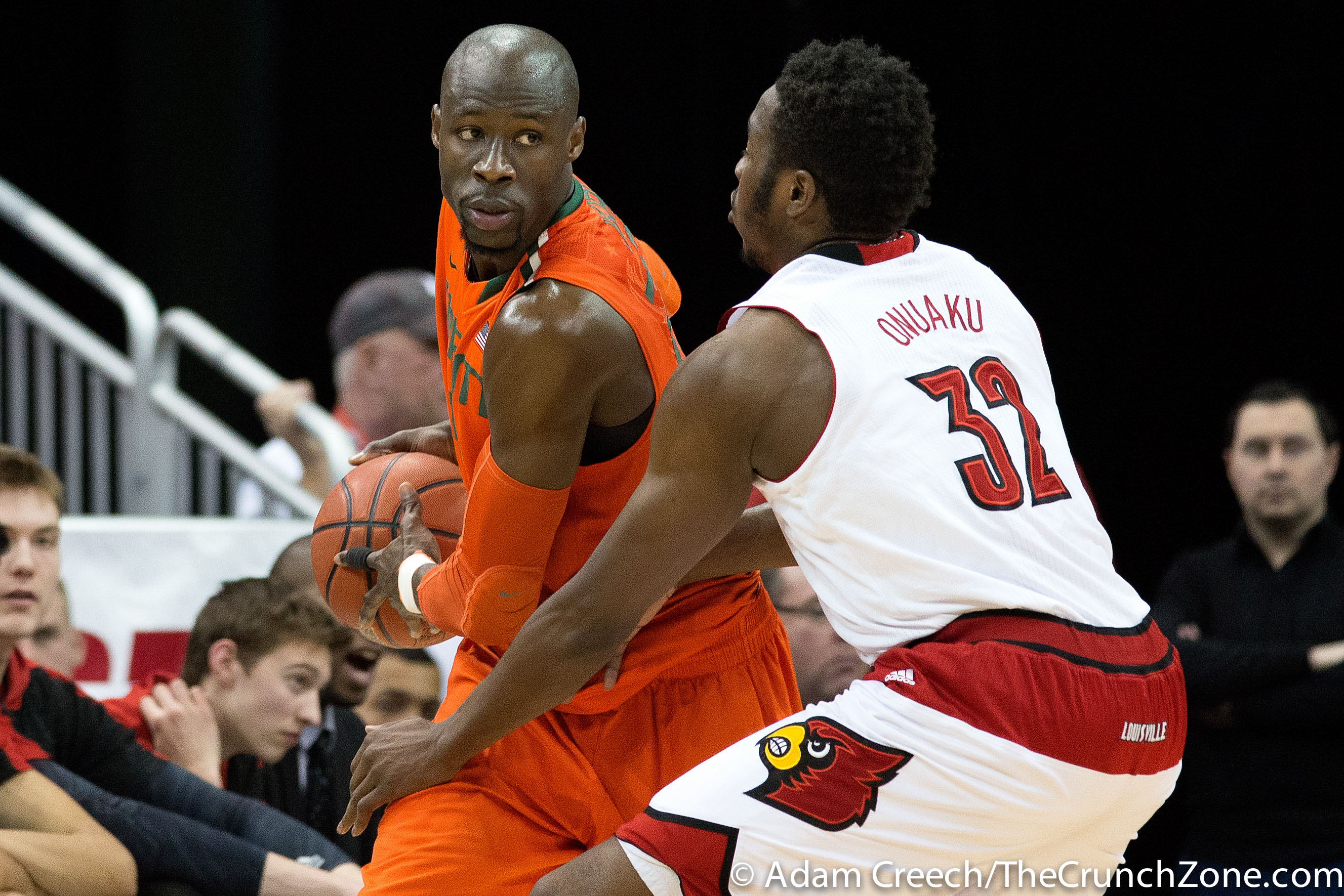 Chinanu Onuaku & Tonye Jekiri Louisville vs. Miami 2-21-2015 Photo by Adam Creech