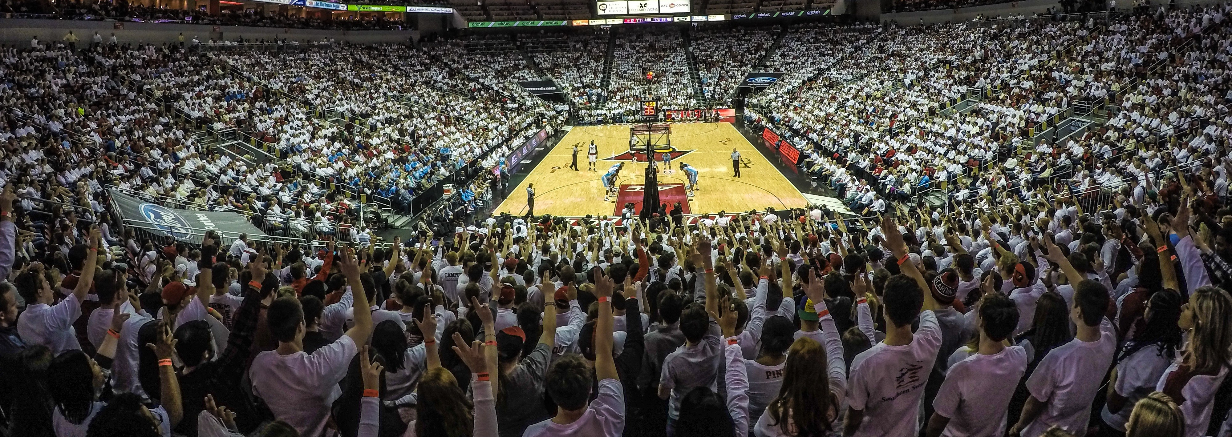 Student Section Ls White Out Louisville vs. North Carolina 1-31-2015 Photo by Seth Bloom Fitted