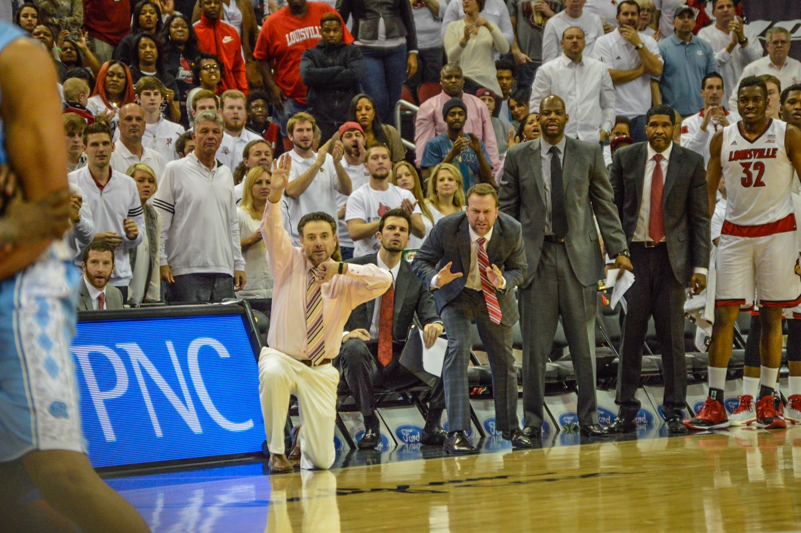 Louisville Bench, Rick Pitino, David Padgett, Mike Balado, Wyking Jones, Kenny Johnson, Chinanu Onuaku Louisville vs. North Carolina 1-31-2015 Photo by Seth Bloom