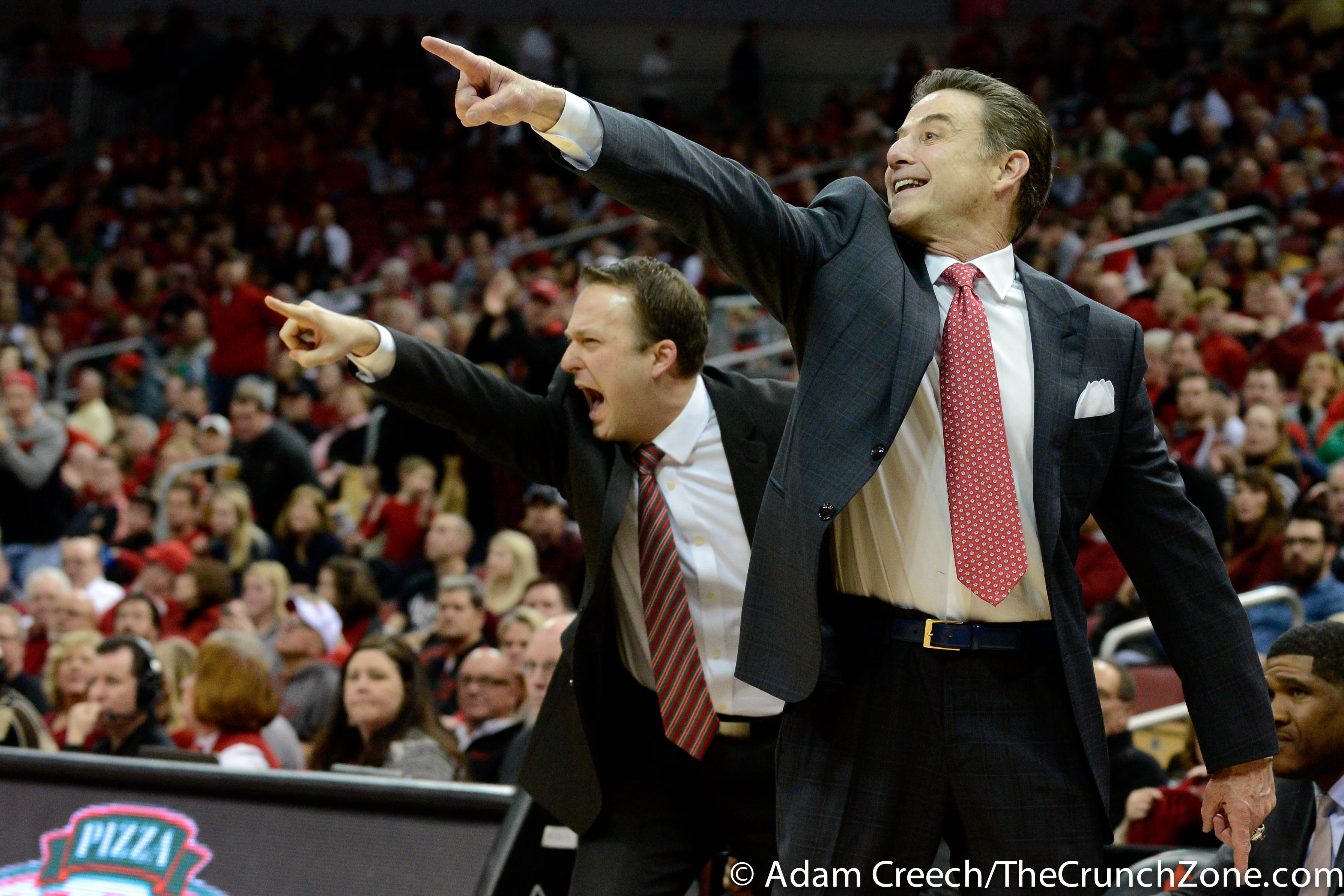 Rick Pitino & Mike Balado Louisville vs. Notre Dame 3-4-2015 Photo by Adam Creech