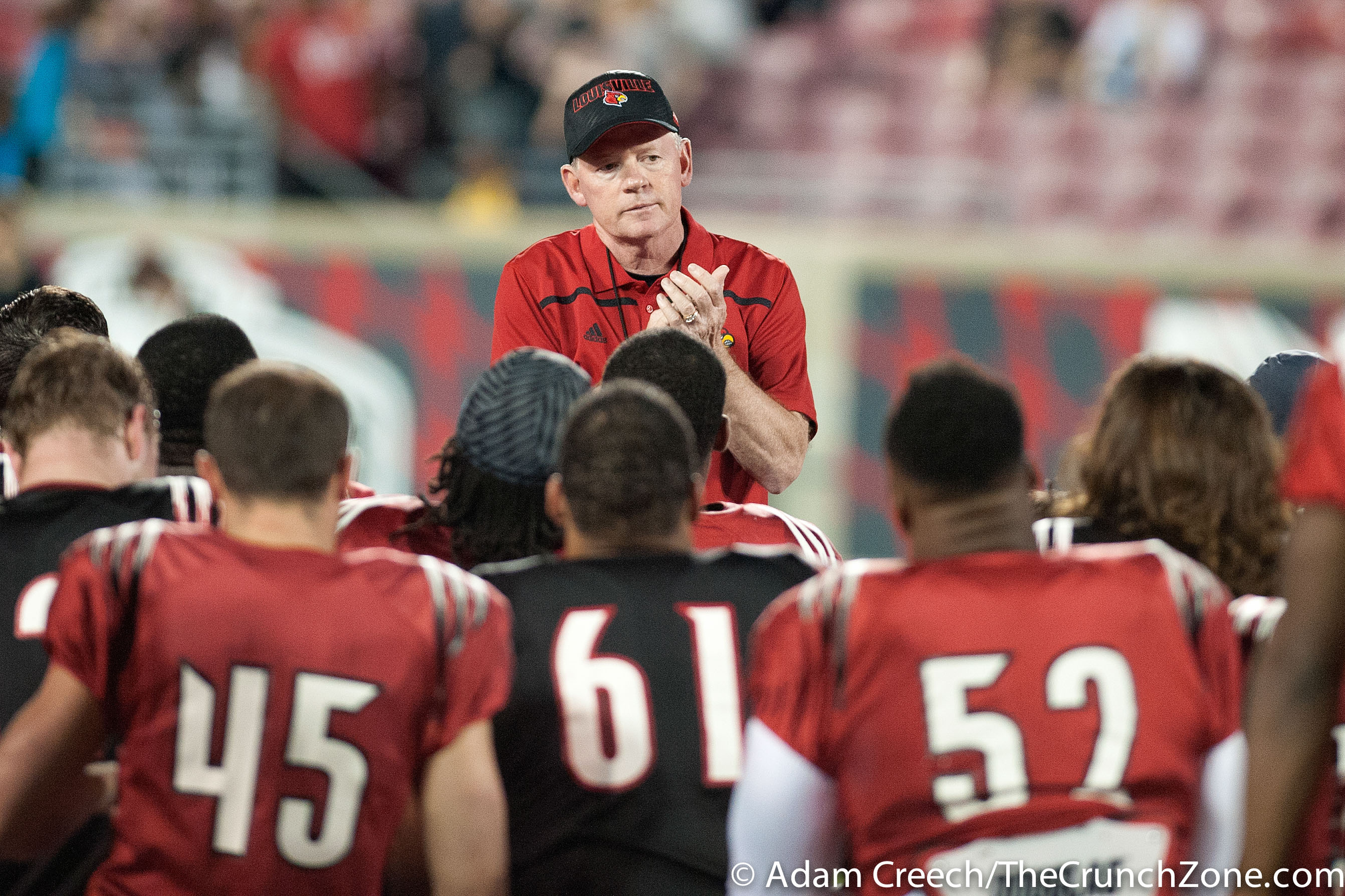 Bobby Petrino, John Wallace, Tobijah Hughley, Nick Dawson-Brents 2015 Louisville Spring Game 4-17-2015 Photo by Adam Creech