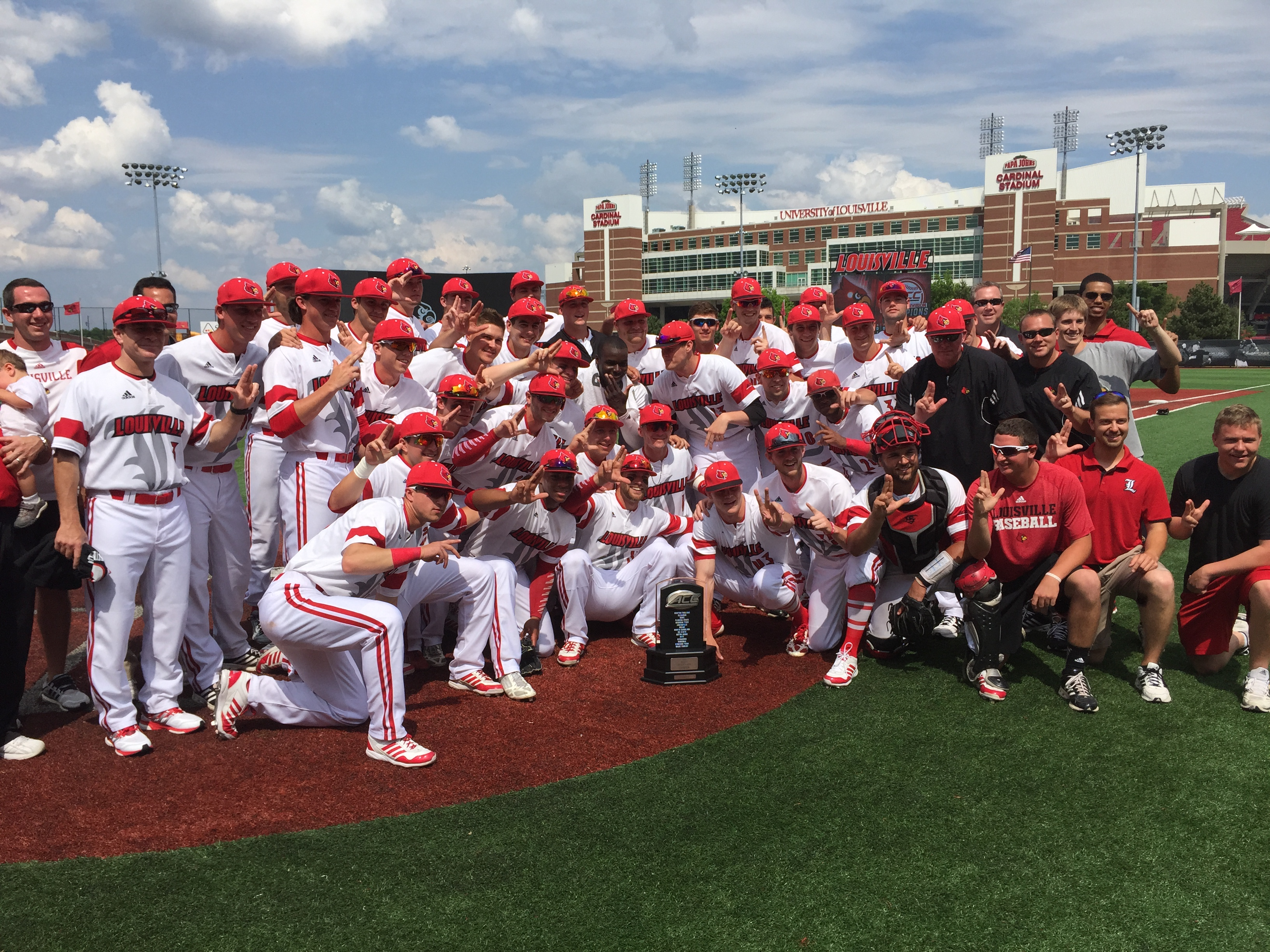 Louisville Celebrates 2015 ACC Atlantic Division Title Louisville vs. Florida State 5-9-2015 Jim Patterson Stadium, Photo by Mark Blankenbaker