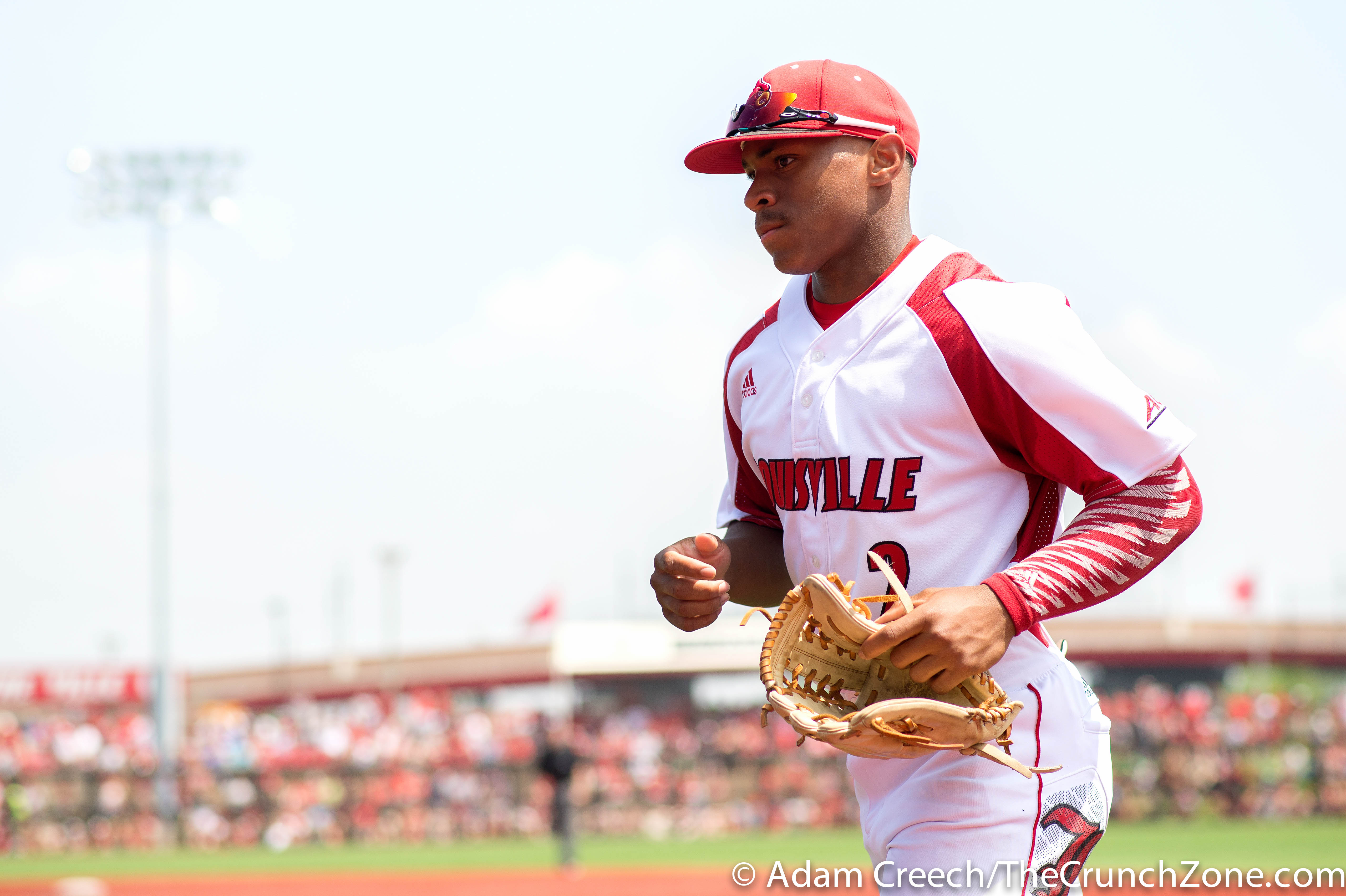 Corey Ray Louisville vs. Cal State Fullerton Game 1 Super Regional. Photo By Adam Creech 6-6-2015