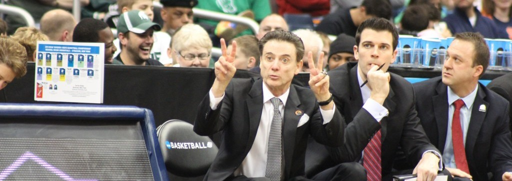 Rick Pitino 2015 Syracuse Regional NCAA Tournament. Photo by Mark Blankenbaker. Fitted