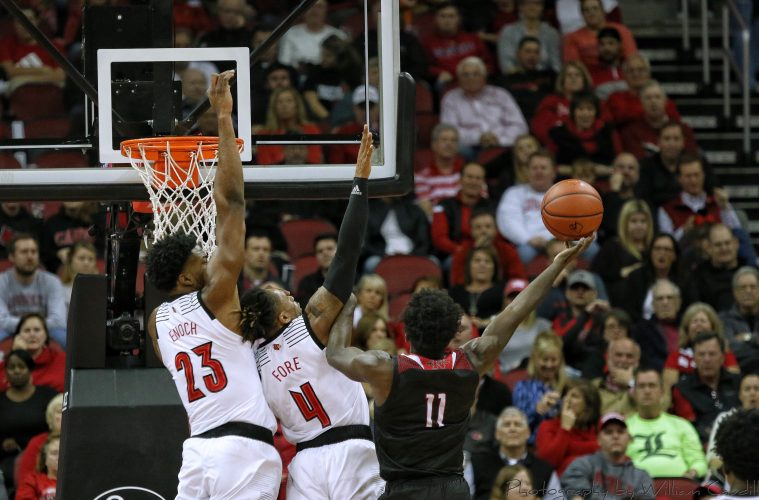 Steven Enoch, Khwan Fore Louisville vs. Nicholls State 11-8-2018 Photo by William Caudill, TheCrunchZone.com