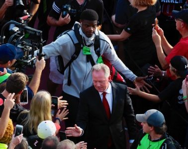 Bobby Petrino, Lamar Jackson Louisville vs. Clemson 9-16-2017 Photo by Cindy Shelton, TheCrunchZone.com