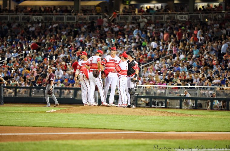 Louisville Baseball vs. Mississippi State 6-20-2019 Photo by William Caudill, TheCrunchZone.com TD Ameritrade College World Series, Omaha, NE