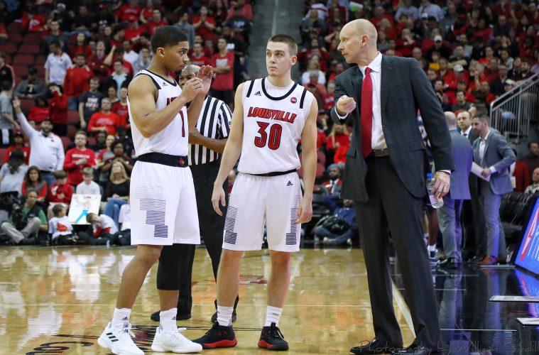Chris Mack, Ryan McMahon, Christen Cunningham Louisville vs. Kent State 12-15-2018 TheCrunchZone.com Photo by William Caudill
