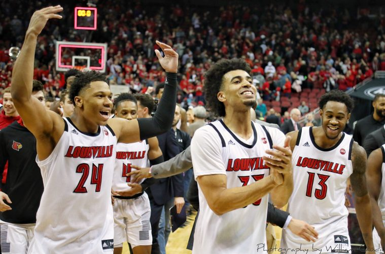 Dwayne Sutton, Jordan Nwora, VJ King Louisville vs. Michigan State 11-27-2018 Photo by William Caudill, TheCrunchZone.com