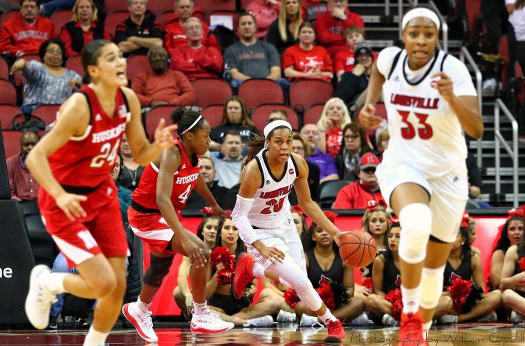 Asia Durr, Bionca Dunham Louisville vs. Nebraska 11-29-2018 Photo by William Caudill, TheCrunchZone.com