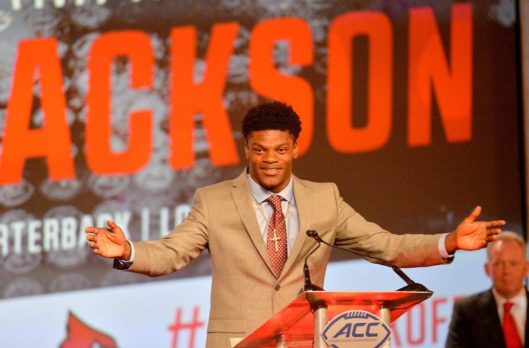 Louisville's Lamar Jackson addresses the media during the 2016 ACC Football Kickoff media event in Charlotte, N.C., Friday, July 22, 2016. (Photo by Sara D. Davis, the ACC.com)