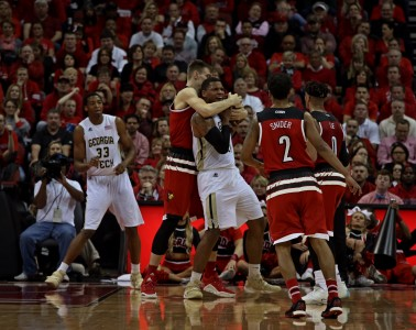"Matz Stockman, Quentin Snider ""Senior Night"" Louisville vs. Georgia Tech 3-1-2016 Photo by William Caudill"