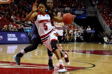 Taja Cole Louisville vs. Central Arkansas 3-18-2016 Photo by William Caudill