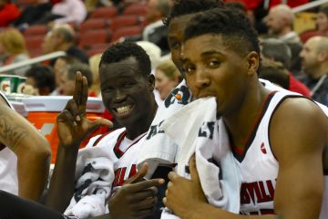 Deng Adel, Donovan Mitchell Louisville vs. Southern Illinois 12-7-2016 Photo by William Caudill TheCrunchZone.com