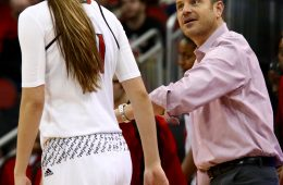 Jeff Walz, Kylee Shook Louisville vs. Georgia Tech 1-18-2017 Photo By William Caudill TheCrunchZone.com