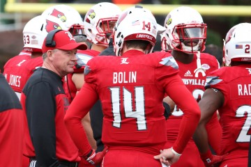 Bobby Petrino, Kyle Bolin Louisville vs. Syracuse 11-7-2015 Photo by William Caudill