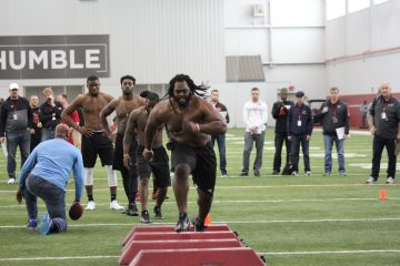 DeAngelo Brown Louisville Football Pro Day 3-30-2017 Photo by Mark Blankenbaker, TheCrunchZone.com