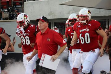 Bobby Petrino, Tyler Haycraft, Jeffrey Banks Louisville vs. Western Kentucky 9-15-2018 Photo by Torrin Madden, TheCrunchZone.com