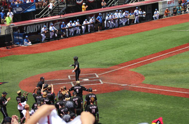 Home Run Celebration Louisville Baseball vs. Kentucky NCAA Super Regional 6-10-2017 Photo by Mark Blankenbaker TheCrunchZone.com