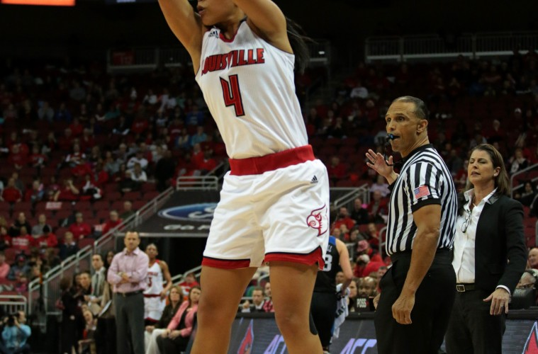 Mariya Moore Louisville vs. Duke 1-10-2016 Photo by William Caudill