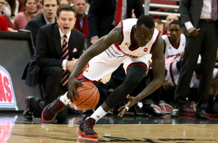 Deng Adel, Rick Pitino Louisville vs. Evansville 11-11-2016 Photo by William Caudill TheCrunchZone.com