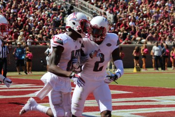 James Quick TD Celebration, Jamari Staples Louisville vs. Florida State 10-17-2015 Photo by Mark Blankenbaker