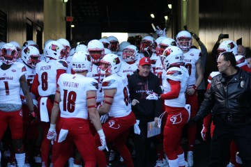 Lamar Jackson, Alphonso Carter, Cole Hikutini, Micky Crum, Traveon Samuel, Bobby Petrino, Louisville vs. Pittsburgh 11-21-2015 Photo by Mark Blankenbaker