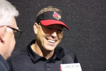 Scott Satterfield Louisville vs. Wake Forest 10-12-2019 TheCrunchZone.com, Photo by Drew Poynter