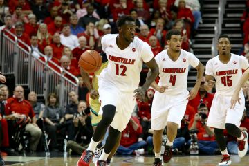 Mangok Mathiang, Quentin Snider, Donovan Mitchell Louisville vs. Notre Dame 3-4-2017 Photo by William Caudill TheCrunchZone.com