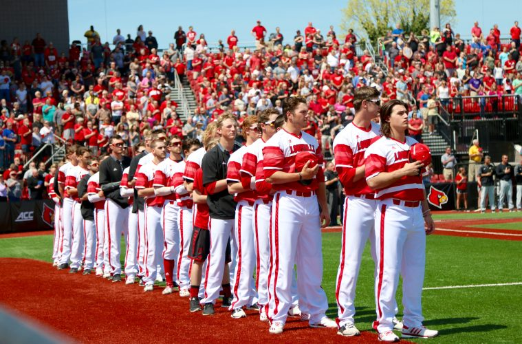 National Anthem Louisville Baseball vs. Wake Forest 4-9-2017 Photo by William Caudill TheCrunchZone.com