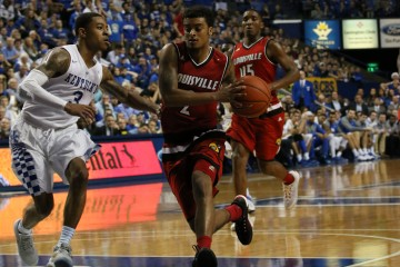 Quentin Snider, Donovan Mitchell Louisville vs. Kentucky Basketball 12-26-2015 Photo by William Caudill
