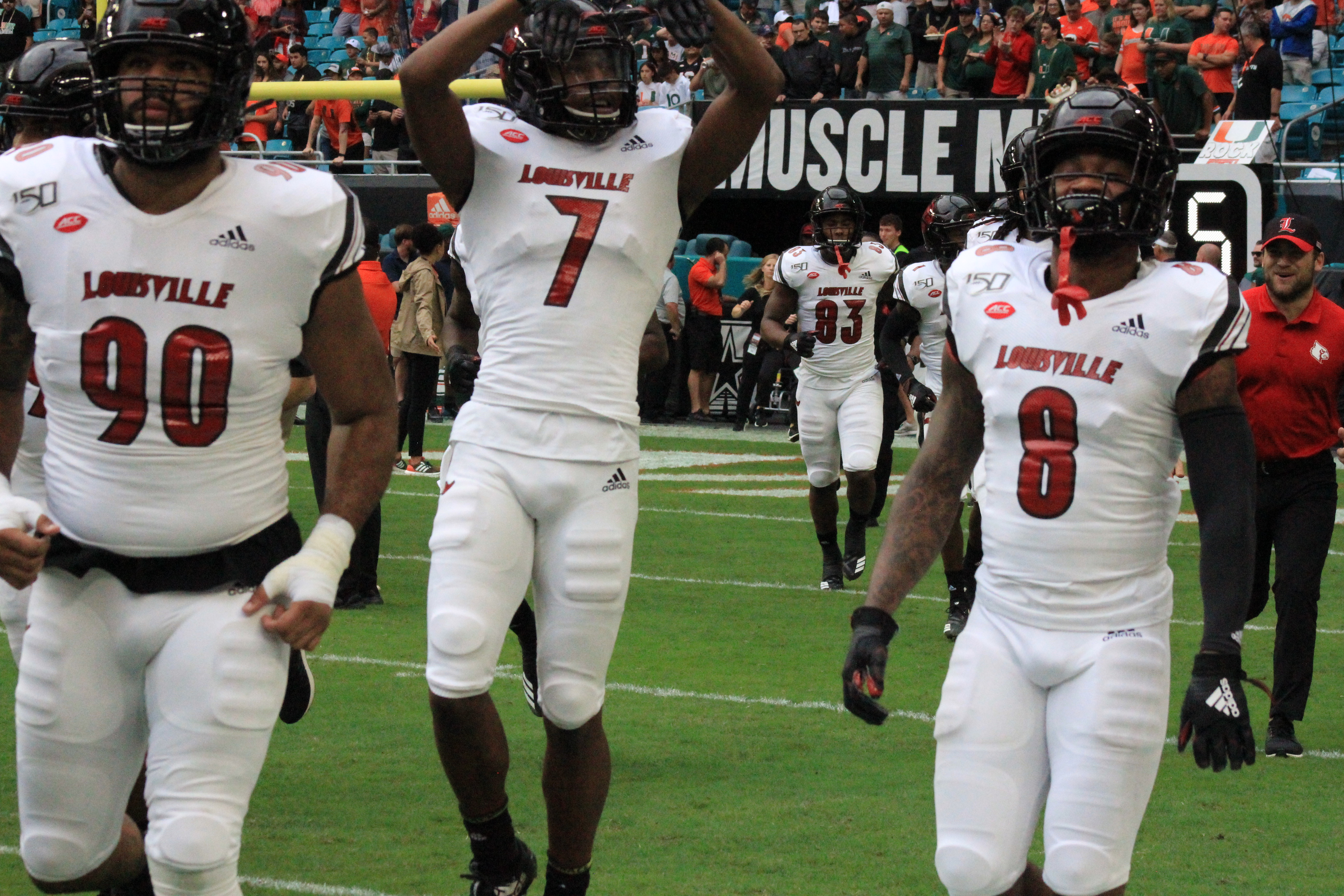 Dez Fitzpatrick, Keion Wakefield, Jared Goldwire Louisville vs. Miami 11-9-2019 Photo by Mark Blankenbaker, TheCrunchZone.com