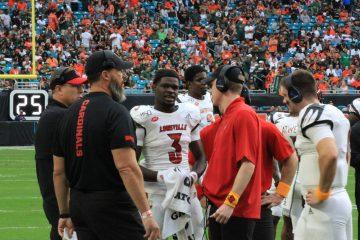 Malik Cunningham, Micale Cunningham, Scott Satterfield, Dwayne Ledford Louisville vs. Miami 11-9-2019 Photo by Mark Blankenbaker, TheCrunchZone.com
