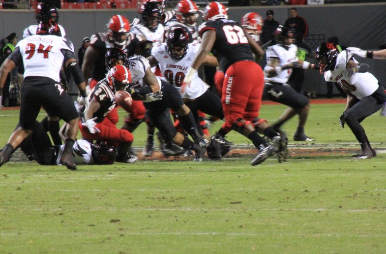 Dorian Etheridge, fumble Louisville vs. NC State, North Carolina State NCAA Championship 11-15-2019 Photo by Mark Blankenbaker, TheCrunchZone.com