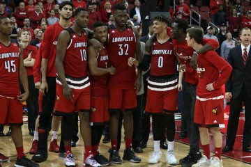 "Donovan Mitchell, Anas Mahmoud, Jaylen Johnson, Trey Lewis, Chinanu Onuaku, Damion Lee, Mangok Mathiang, Dillon Avare ""Senior Night"" Louisville vs. Georgia Tech 3-1-2016 Photo by William Caudill"