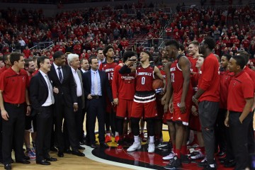 "Coaches, Rick Pitino, Kenny Johnson, Ralph Willard, Mike Balado, Trainers, Student Managers, Ray Spalding Damion Lee, Deng Adel, Jaylen Johnson, Chinanu ONuaku, Matz Stockman, Ryan McMahon, Mangok Mathiang ""Senior Night"" Louisville vs. Georgia Tech 3-1-2016 Photo by William Caudill"