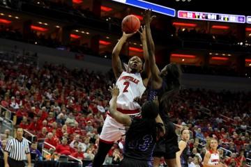 Myisha Hines-Allen Louisville vs. Central Arkansas 3-18-2016 Photo by William Caudill