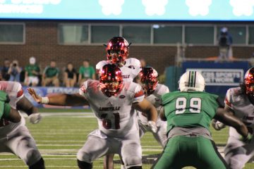 Lamar Jackson, Tobijah Hughley Louisville vs. Marshall 9/24/2016 Photo by Mark Blankenbaker